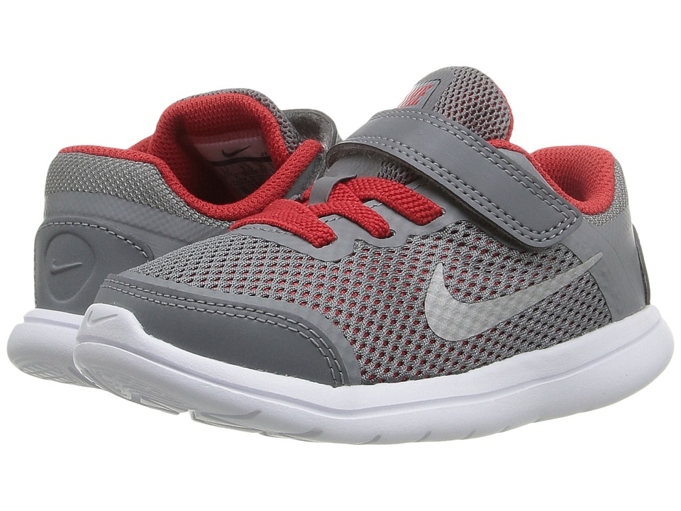 Nike Kids - Flex 2016 RN (Infant/Toddler) (Cool Grey/University Red/Black/Metallic Silver) Boys Shoes