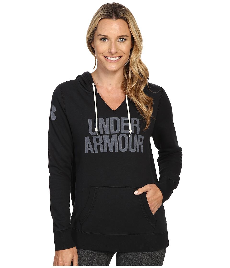 Under Armour - UA Favorite Fleece Popover Hoodie (Black/White) Women's Clothing