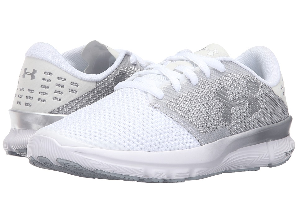 Under Armour - UA Charged Reckless (White/Overcast Gray/Metallic Pewter) Women's Running Shoes