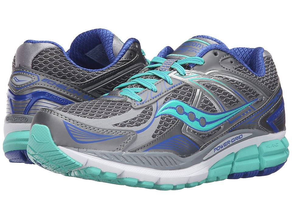 Saucony - Echelon 5 (Grey/Mint/Blue) Women's Running Shoes