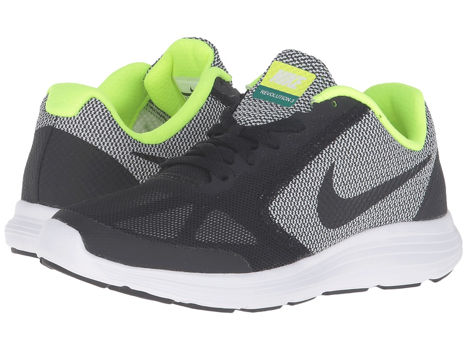 Nike Kids - Revolution 3 (Big Kid) (Black/White/Volt/Black) Boys Shoes