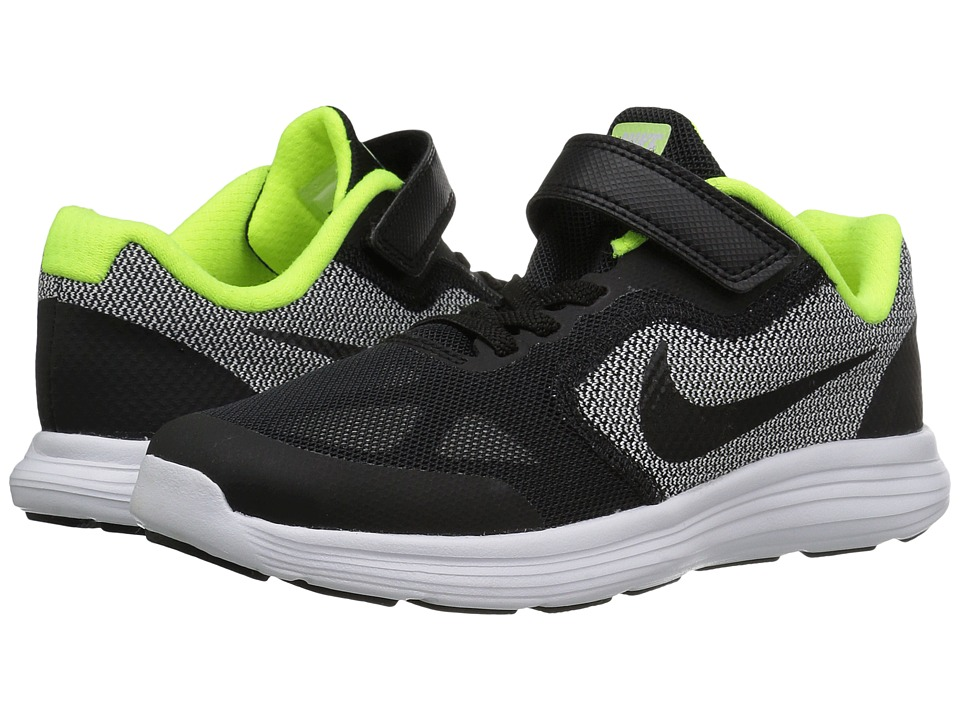 Nike Kids - Revolution 3 (Little Kid) (Black/White/Volt/Black) Boys Shoes