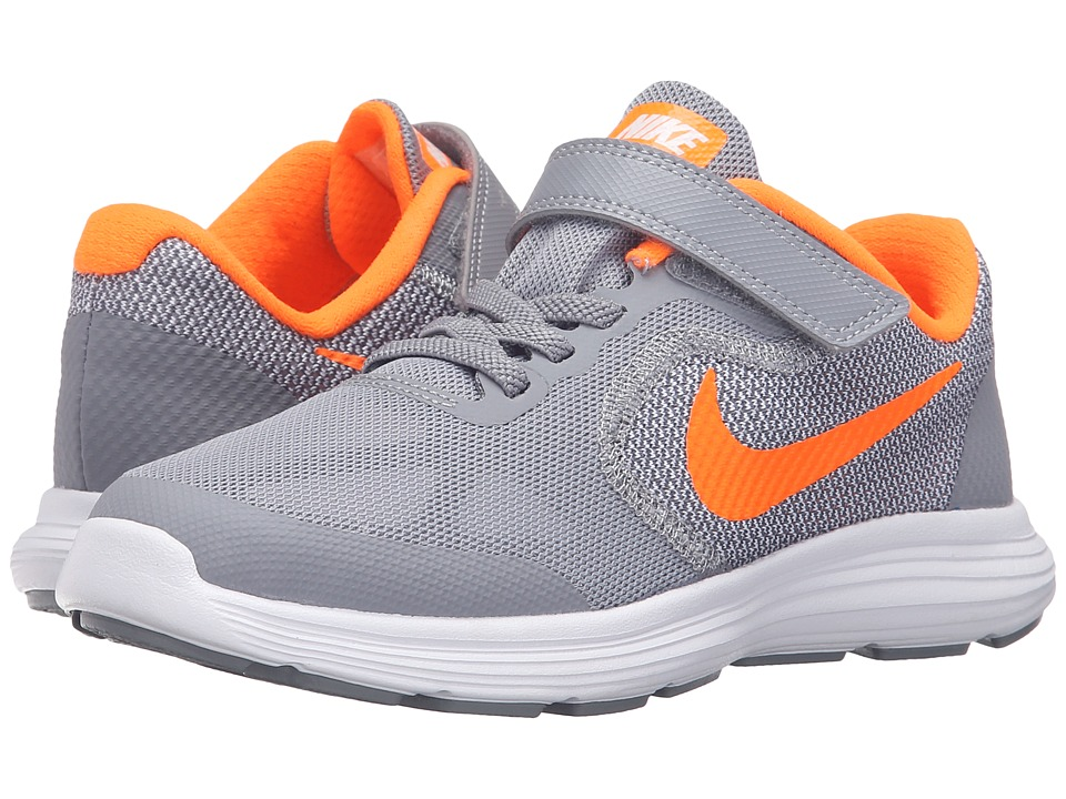 Nike Kids - Revolution 3 (Little Kid) (Stealth/White/Total Orange) Boys Shoes
