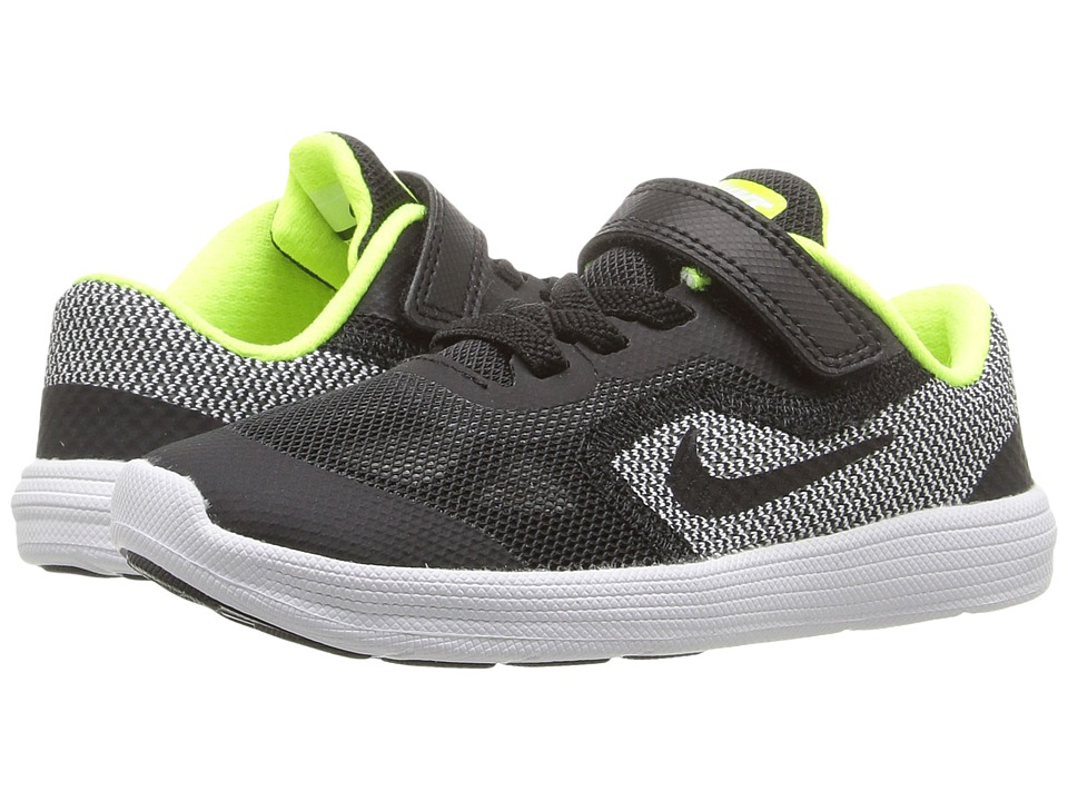 Nike Kids - Revolution 3 (Infant/Toddler) (Black/White/Volt/Black) Boys Shoes