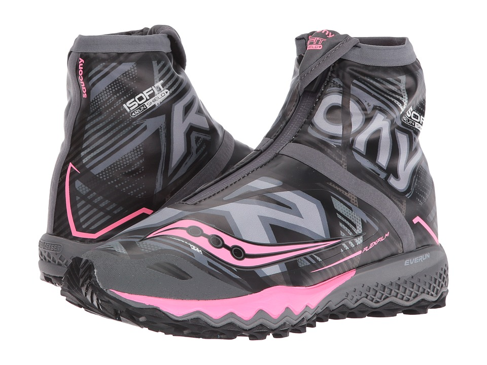 Saucony - Razor Ice+ (Black/White/Coral) Women's Running Shoes