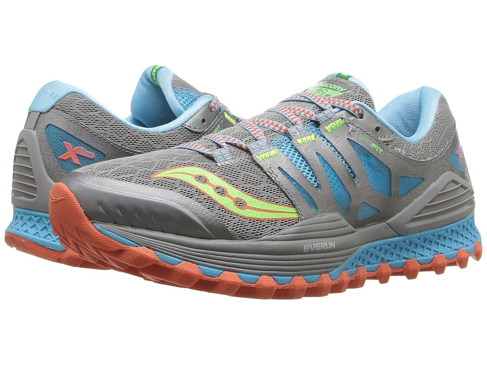 Saucony - Xodus ISO (Grey/Blue/Slime) Women's Running Shoes