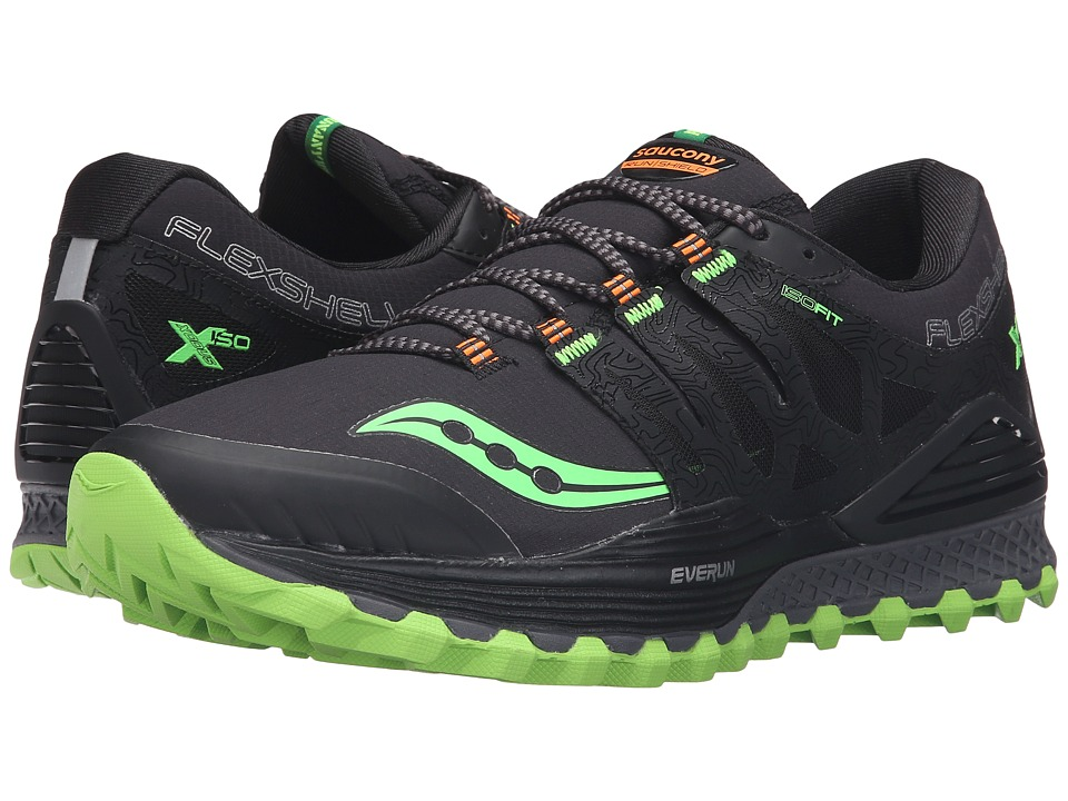 Saucony - Xodus ISO Runshield (Black/Slime/Vizipro Orange) Men's Running Shoes