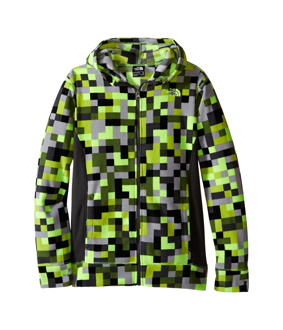 The North Face Kids - Glacier Full Zip Hoodie (Little Kids/Big Kids) (Safety Green Pixel Print) Boy's Sweatshirt
