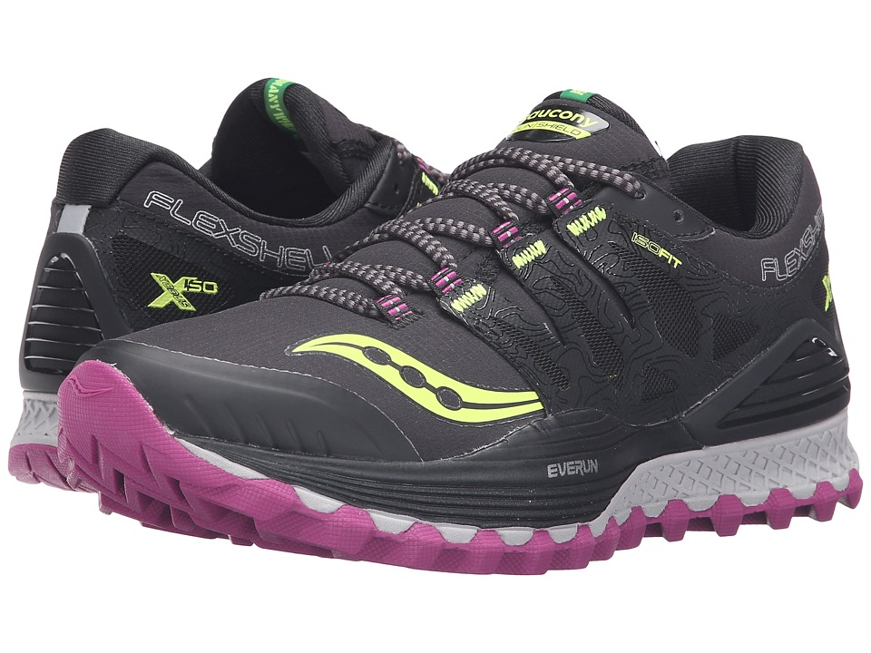 Saucony - Xodus ISO Runshield (Black/Citron/Berry) Women's Running Shoes