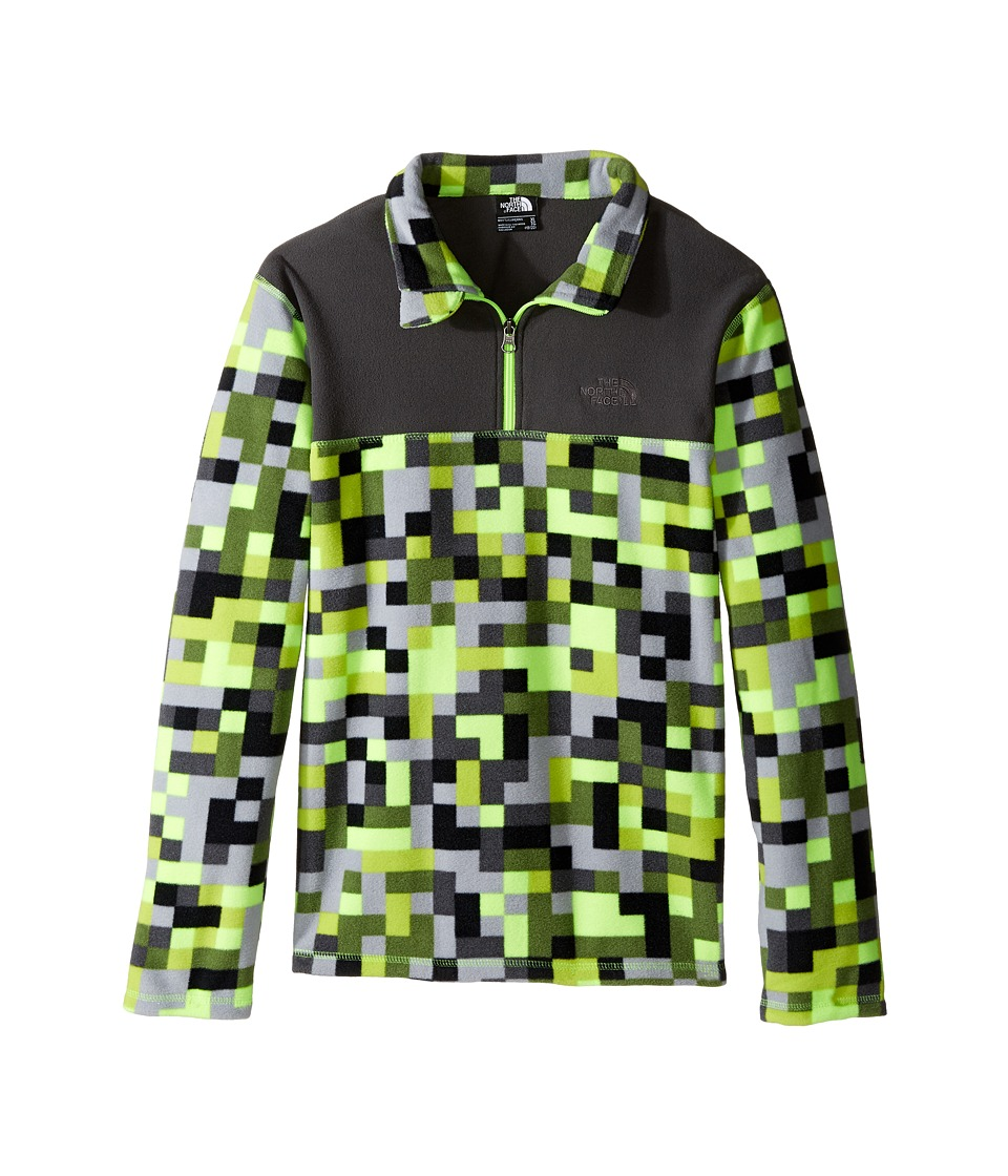 The North Face Kids - Glacier 1/4 Zip (Little Kids/Big Kids) (Safety Green Pixel Print (Prior Season)) Boy's Sweatshirt
