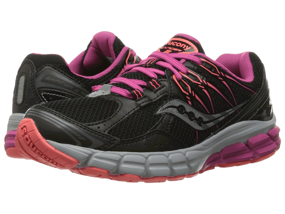 Saucony - Lancer 2 (Black/Berry/Coral) Women's Running Shoes