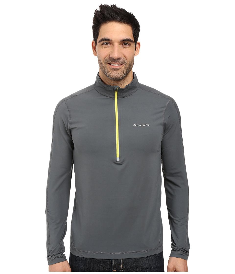 Columbia - Trail Flash Half Zip (Graphite/Acid Yellow) Men's Long Sleeve Pullover