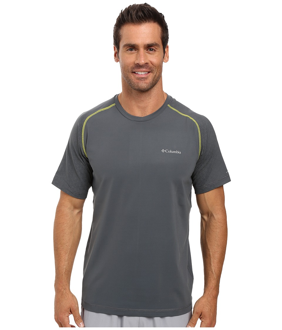 Columbia - Trail Flash Short Sleeve Shirt (Graphite/Acid Yellow) Men's T Shirt