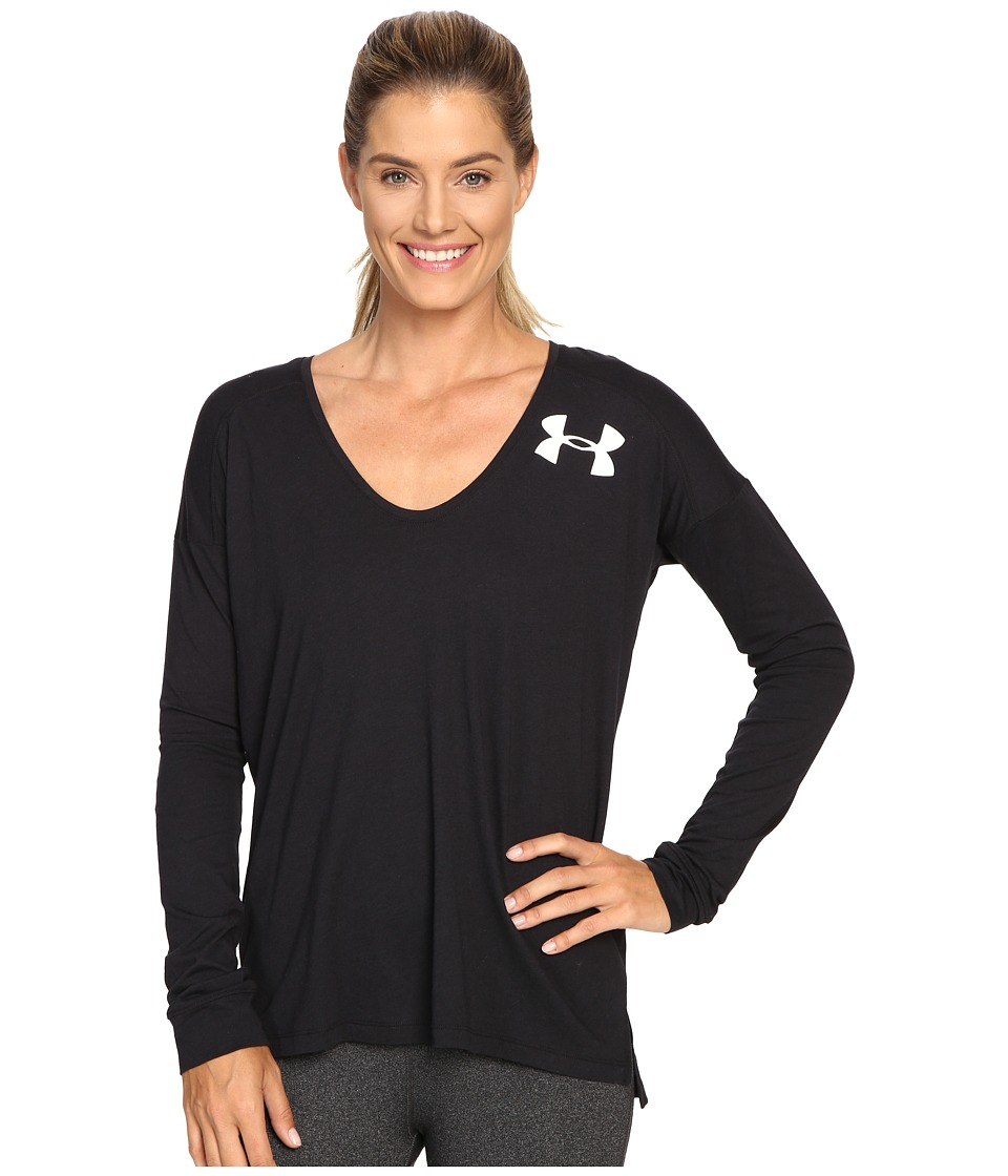 Under Armour - UA Favorite Long Sleeve Wordmark Back Shirt (Black/White/White) Women's Long Sleeve Pullover