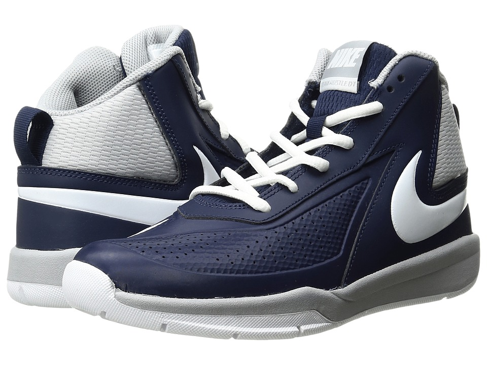 Nike Kids - Team Hustle D 7 (Big Kid) (Midnight Navy/Wolf Grey/White) Boys Shoes
