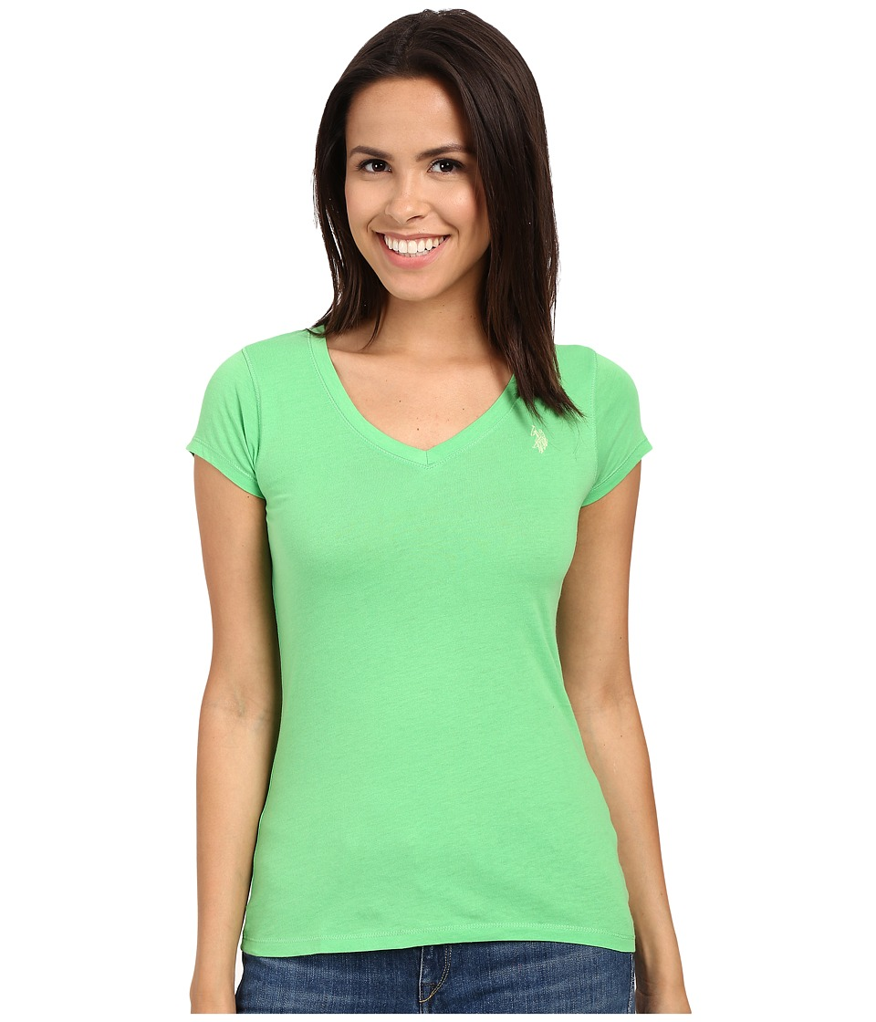 U.S. POLO ASSN. - Solid V-Neck Tee (Sea Grass) Women's Short Sleeve Pullover
