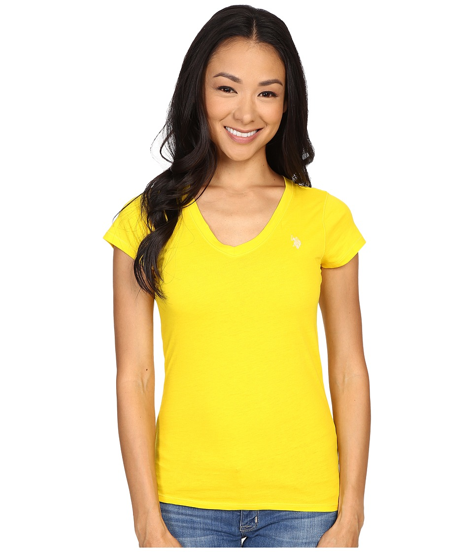 U.S. POLO ASSN. - Solid V-Neck Tee (Sailing Yellow) Women's Short Sleeve Pullover