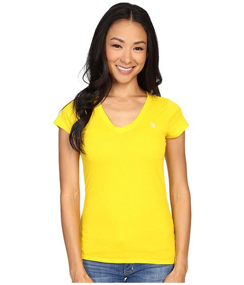 U.S. POLO ASSN. - Short Sleeve V-Neck T-Shirt (Sailing Yellow) Women's T Shirt
