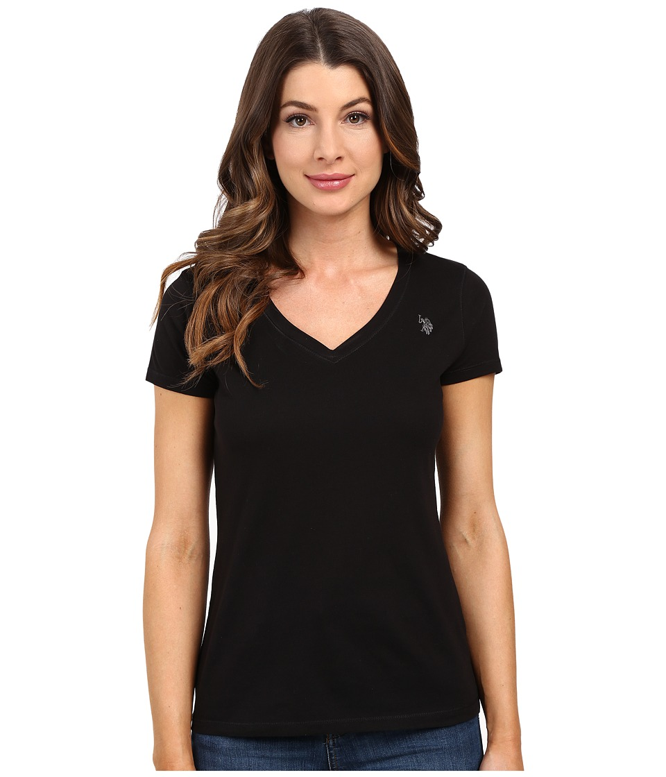 U.S. POLO ASSN. - Solid V-Neck Tee (Anthracite) Women's Short Sleeve Pullover
