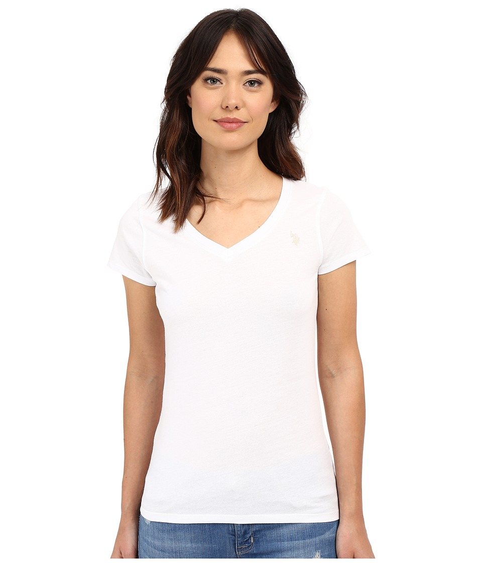 U.S. POLO ASSN. Solid V-Neck Tee (White Process) Women