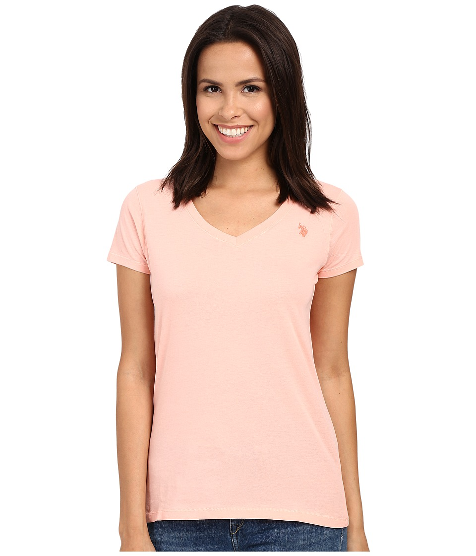 U.S. POLO ASSN. - Solid V-Neck Tee (Peach Hud) Women's Short Sleeve Pullover