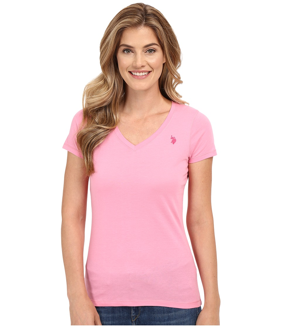 U.S. POLO ASSN. - Solid V-Neck Tee (Sachet Pink) Women's Short Sleeve Pullover