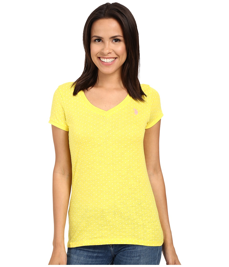 U.S. POLO ASSN. - Polka Dot Lace Trim V-Neck T-Shirt (Buttercup) Women's T Shirt