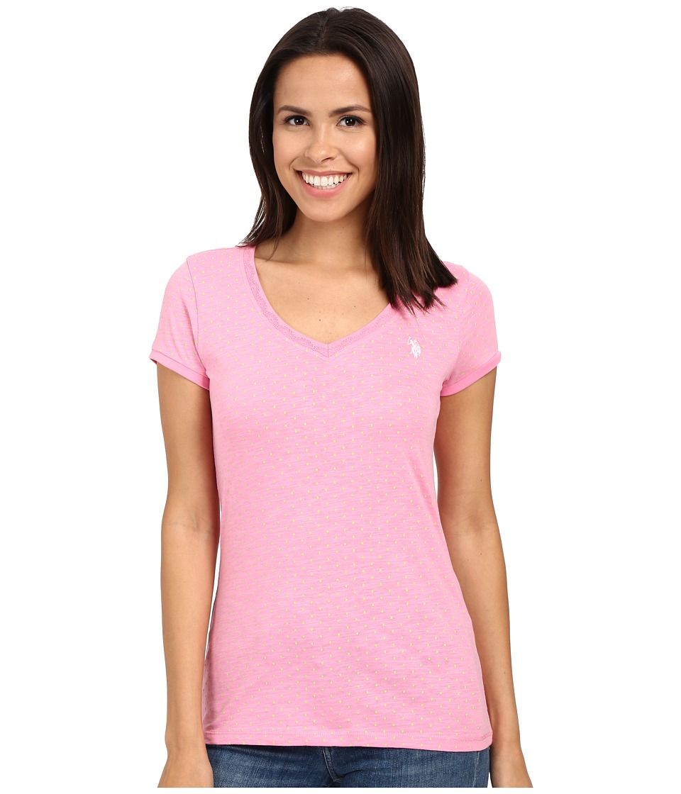 U.S. POLO ASSN. - Polka Dot Lace Trim V-Neck T-Shirt (Sachet Pink) Women's T Shirt