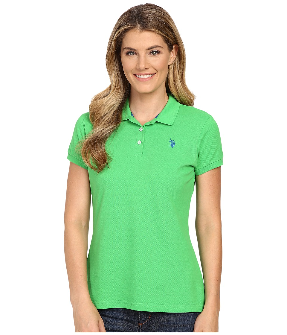 U.S. POLO ASSN. - Solid Pique Polo (Classic Green) Women's Short Sleeve Knit