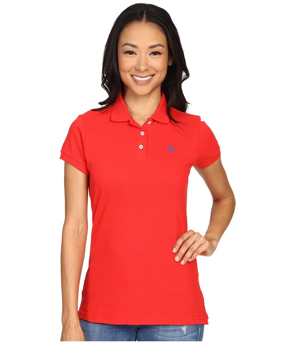 U.S. POLO ASSN. Solid Pique Polo (Red/Blue) Women