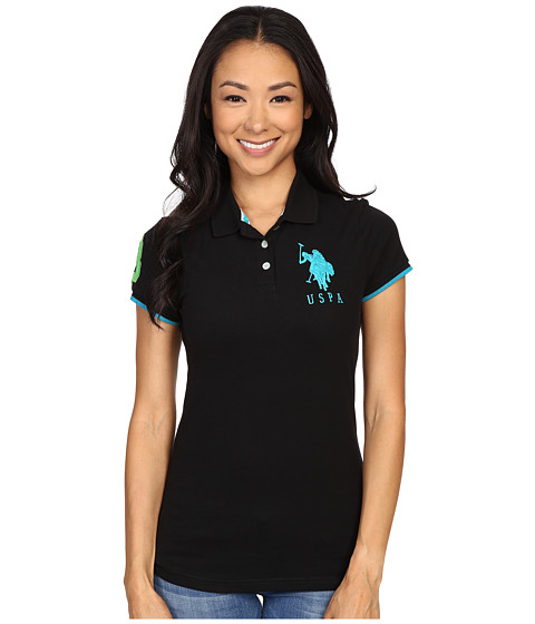 U.S. POLO ASSN. - Contrast Patch Big Pony Polo Shirt (Black/Turquoise) Women's Short Sleeve Knit