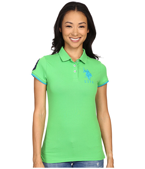 U.S. POLO ASSN. - Contrast Patch Big Pony Polo Shirt (Classic Green) Women's Short Sleeve Knit
