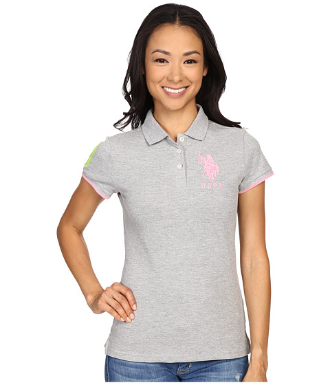 U.S. POLO ASSN. - Contrast Patch Big Pony Polo Shirt (Grey Heather) Women's Short Sleeve Knit
