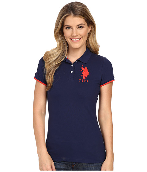 U.S. POLO ASSN. - Contrast Patch Big Pony Polo Shirt (Navy/Red) Women's Short Sleeve Knit
