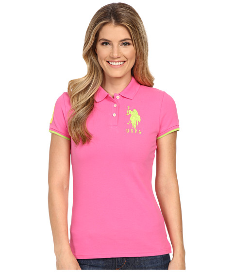U.S. POLO ASSN. - Contrast Patch Big Pony Polo Shirt (Shocking Pink) Women's Short Sleeve Knit