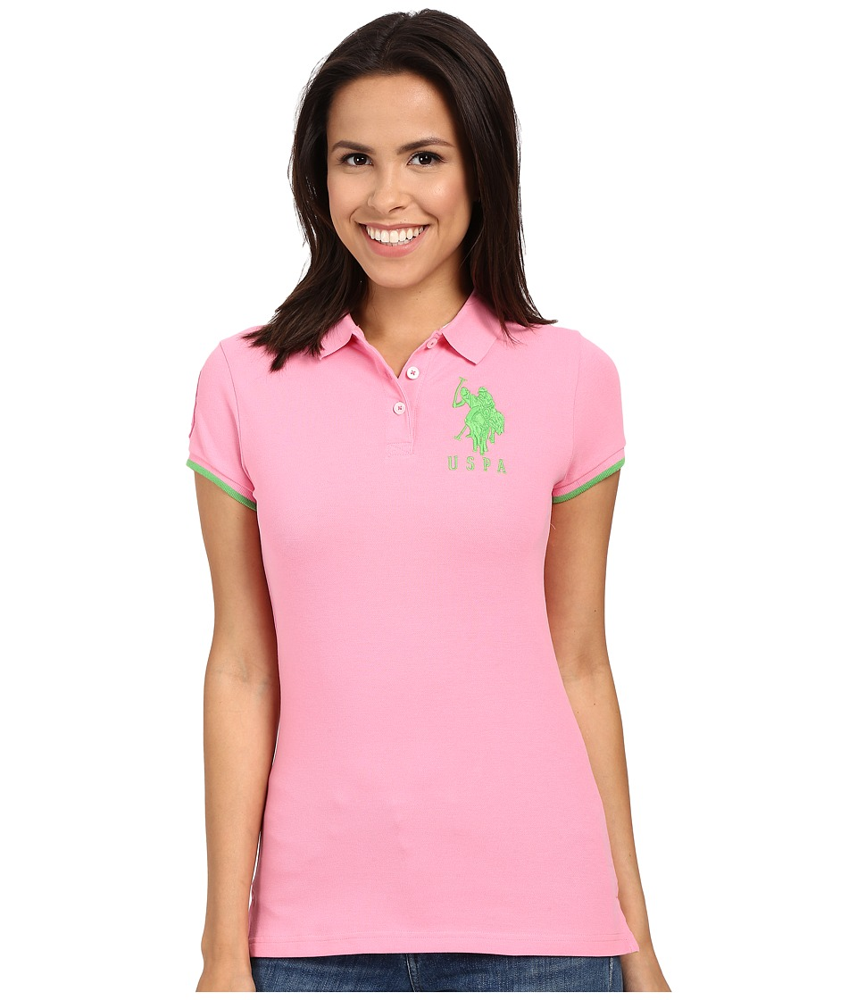 U.S. POLO ASSN. - Contrast Patch Big Pony Polo (Sachet Pink) Women's Short Sleeve Pullover