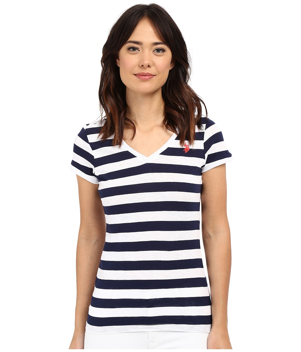 U.S. POLO ASSN. - Lace Trim V-Neck T-Shirt (Tribal Navy) Women's Short Sleeve Pullover