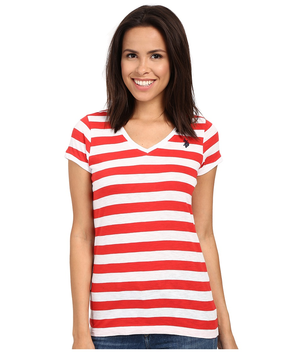 U.S. POLO ASSN. - Lace Trim V-Neck T-Shirt (Tomato) Women's Short Sleeve Pullover
