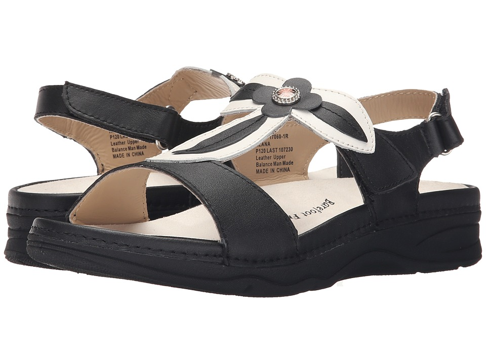 Drew - Alana (Black/White Leather) Women's Sandals