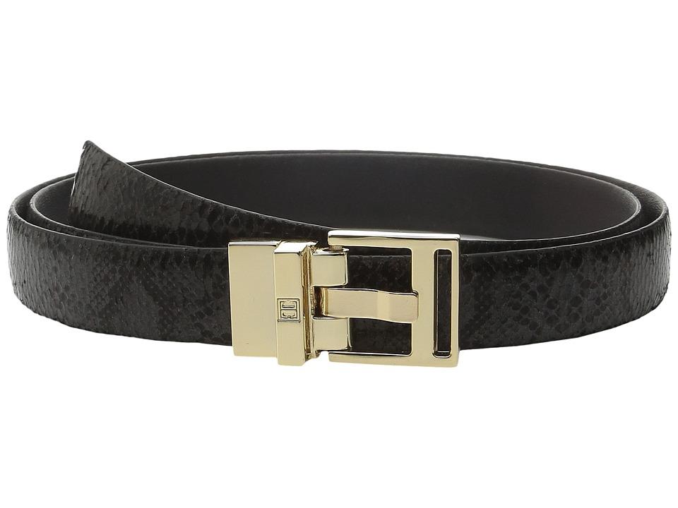 Ivanka Trump - 25mm Reversible Python To Smooth Belt (Black) Women's Belts
