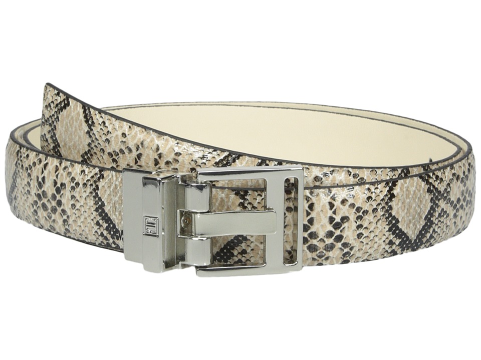 Ivanka Trump - 25mm Reversible Python To Smooth Belt (Cream) Women's Belts