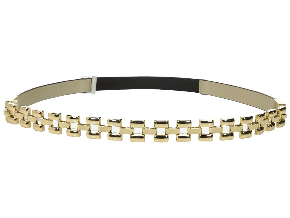 Ivanka Trump - 15mm Glazed Belt with Chain Front and Stretch Back (Black) Women's Belts
