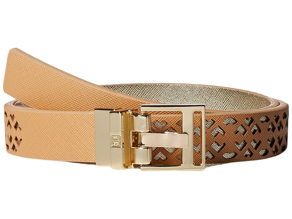 Ivanka Trump - 25mm Reversible Peekaboo Perf Belt (Natural) Women's Belts