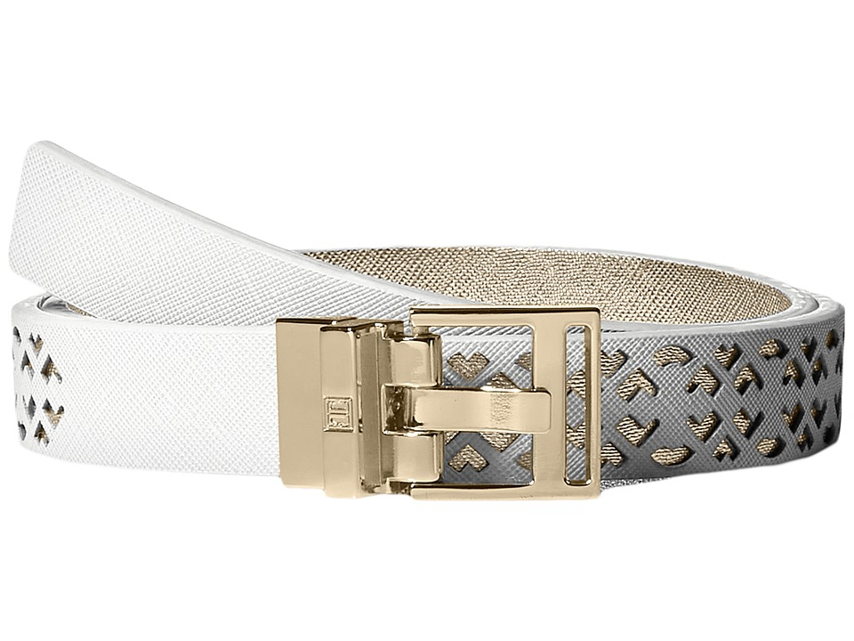 Ivanka Trump - 25mm Reversible Peekaboo Perf Belt (White) Women's Belts