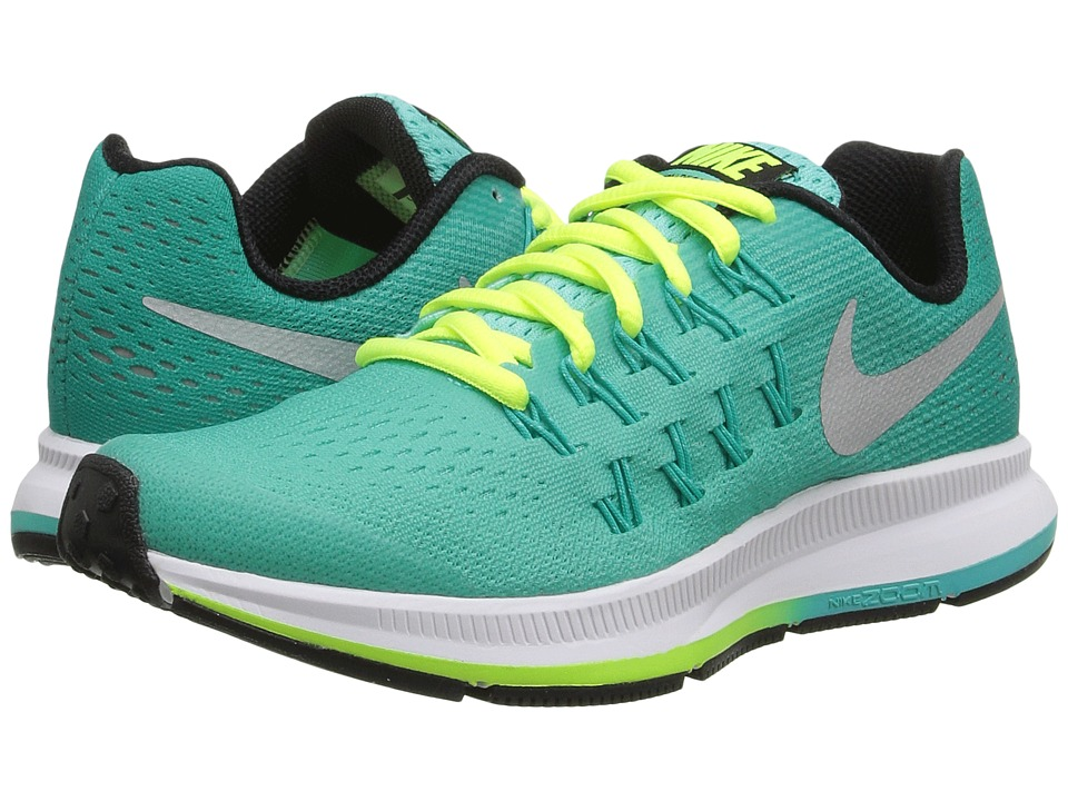 Nike Kids - Zoom Pegasus 33 (Little Kid/Big Kid) (Hyper Turquoise/Clear Jade/Volt/Metallic Silver) Girls Shoes