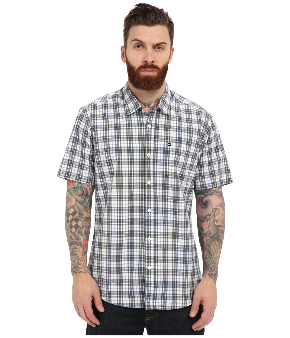Quiksilver - Everyday Check Short Sleeve Woven Top (Dark Shadow) Men's Clothing