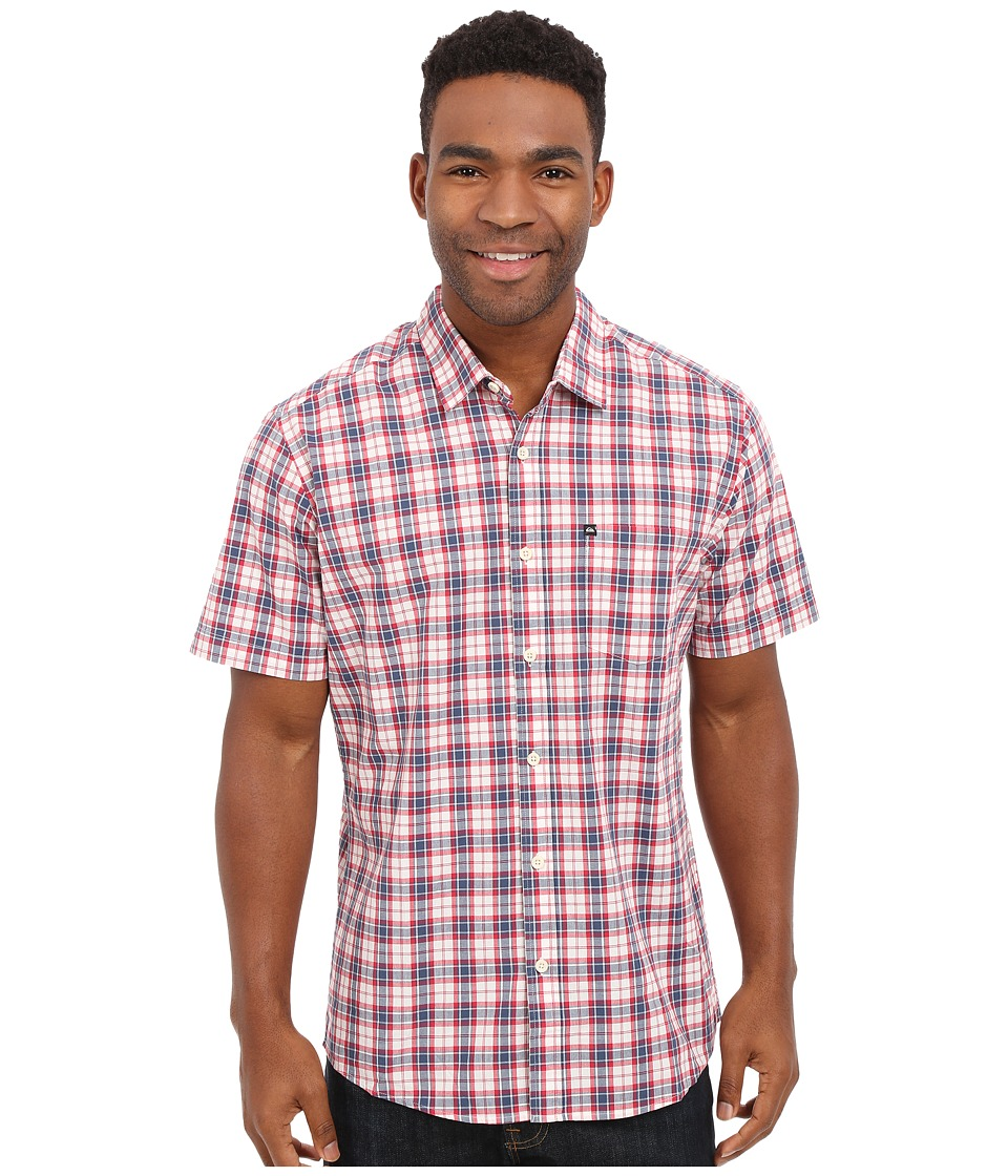 Quiksilver - Everyday Check Short Sleeve Woven Top (Dark Denim) Men's Clothing