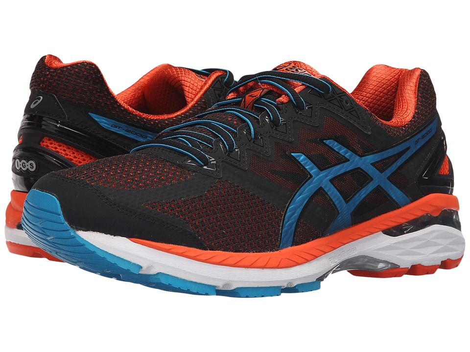 ASICS - GT-2000 4 (Black/Blue Jewel/Flame Orange) Men's Running Shoes
