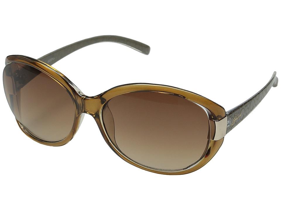 GUESS - GU0214F (Amber Crystal/Brown Gradient Lens) Fashion Sunglasses