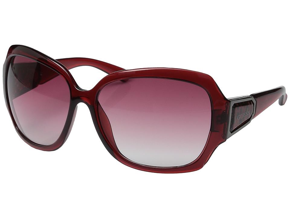 GUESS - GU0217F (Burgundy Crystal/Burgundy Gradient Lens) Fashion Sunglasses